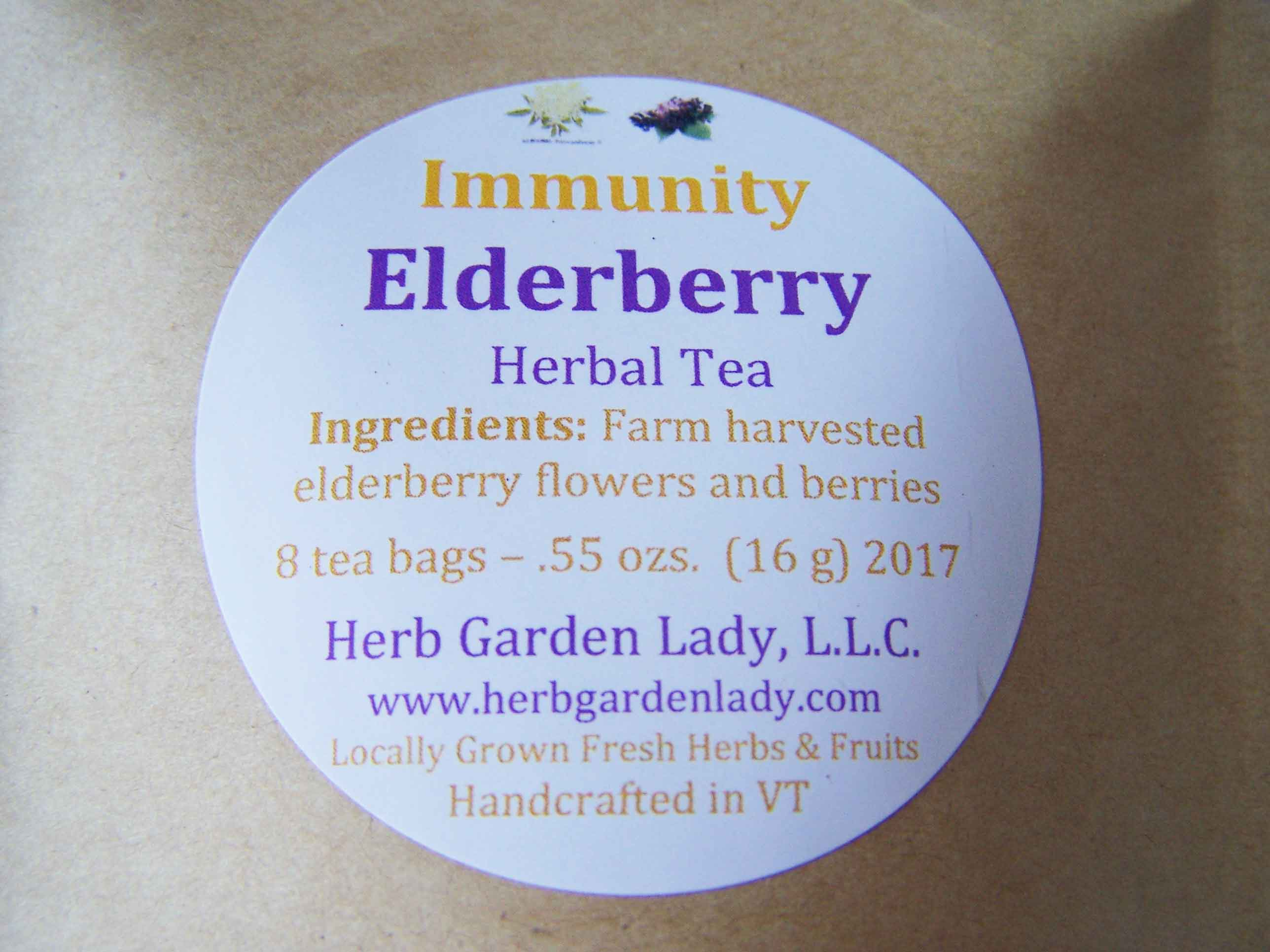 Elderberry tea immunity benefits in a herbal tea.