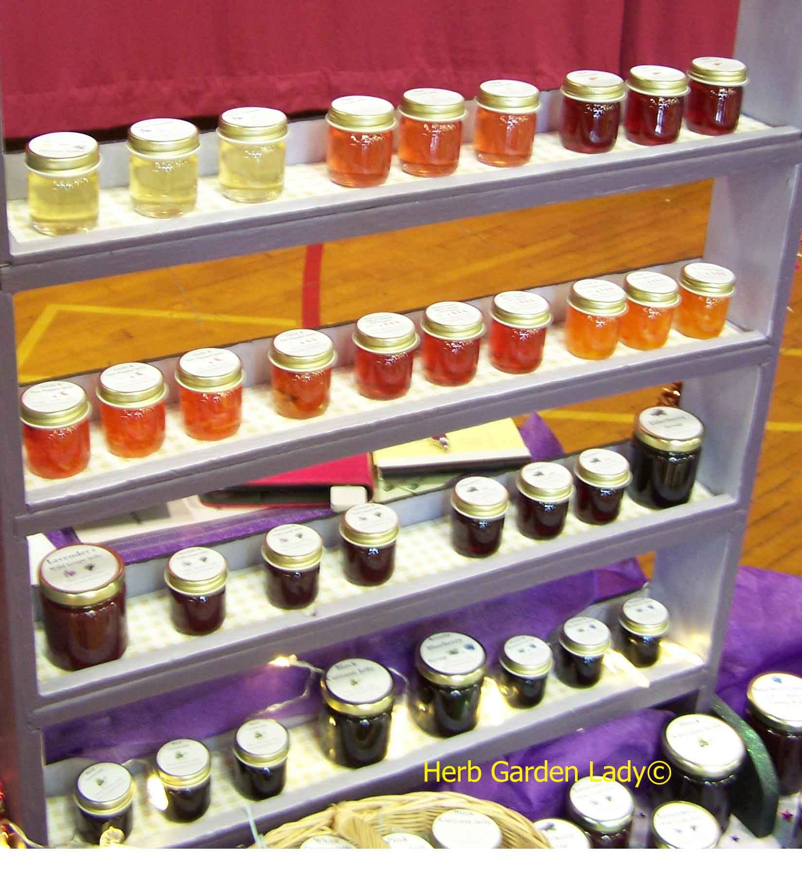 Herbal jellies and jams I sell at the Farmers Market.