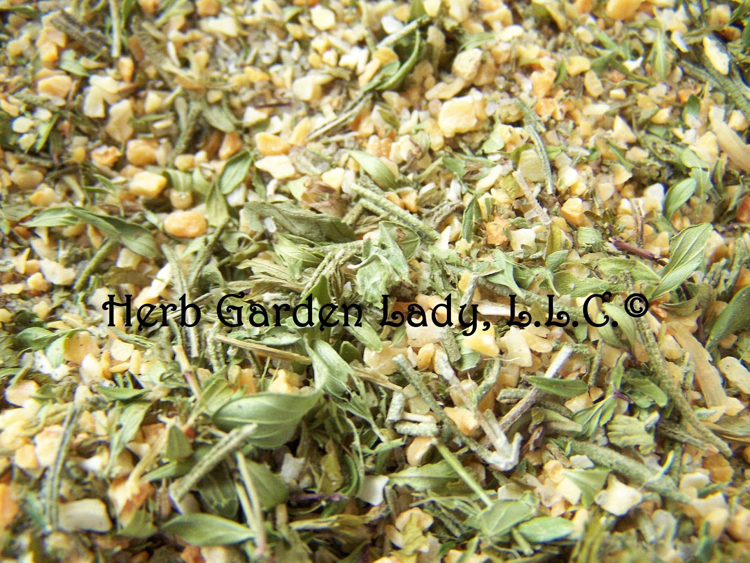 Savory herb rub using garlic, thyme, sea salt, rosemary and freshly ground pepper.